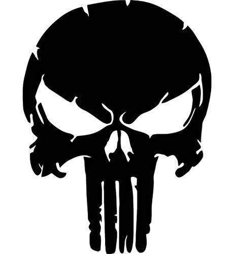 Punisher Wandtattoo Wandaufkleber Schädel Totenkopf Wandsticker Skull (M 28cm(H) x 20cm(B), Schwarz)