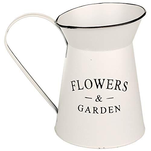 Macosa NO55764 deco melkkan zink vintage wit waterkan plantenpot landhuis tuindecoratie metalen pot decoratieve pot blikken pot