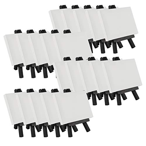 Creative Mark Ultra Mini lienzo estirado blanco y caballete de madera negro para pequeñas pinturas – 3 x 4 pulgadas [20 unidades] Perfecto para pintar o mostrar artes y manualidades a pequeña escala