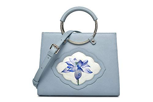 QXX Chinese Type Women's Bag, Cowskin Embroidery Ring Handbag, Light Blue, Listening to Lotus Style