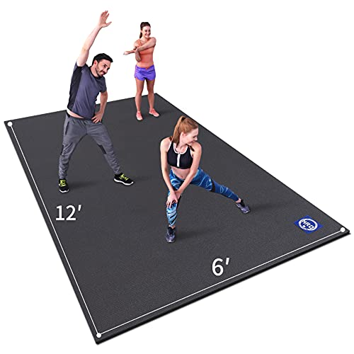 Premium Large Exercise Mat 6' x 12' x 7mm, High-Density Workout Mats for Home Gym Flooring, Non-Slip, Extra Thick Durable Cardio Mat, and Ideal for Plyo, MMA, Jump Rope (Black)