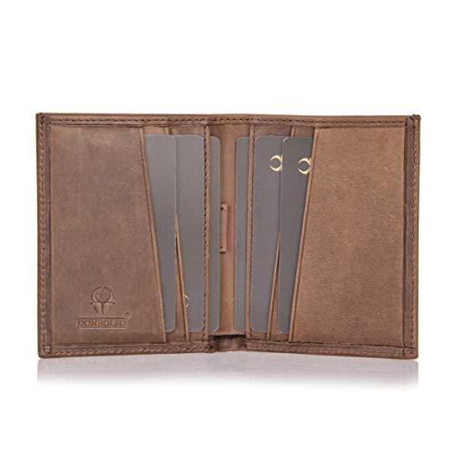 DONBOLSO® Rom 2.0 Leder I Mini Geldbörse mit RFID-Schutz I Slim Wallet ohne Münzfach I echtes Leder I Geldbeutel Herren
