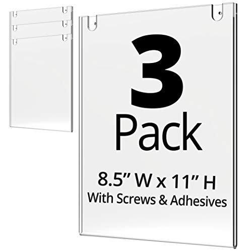 Mammoth Acrylic Wall Sign Holder 8.5 x 11 Inches, Thick & Durable Design, Stick On or Screw On, Screws and Double Sided 3M Tape Inclusive (Portrait 3 Pack)