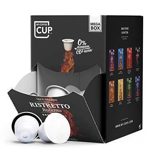 My-CoffeeCup Mega-Box Cápsulas de Café Ristretto Italiano Orgánico - Granos con Sabor y Aroma - Compatible con Máquina Nespresso®³ - Cápsulas Compostables Industrialmente sin Aluminio - Pack 100