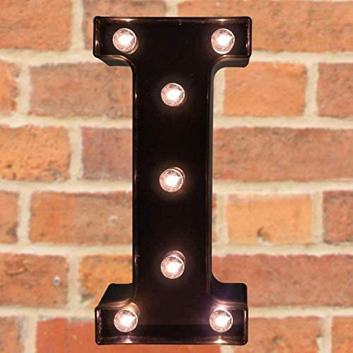 Your Name in Lights - Illuminated Vintage Style Decorative Letter Lights, Up in Lights LED Alphabet A-Z Marquee Night Light Wall Mounted Decoration S(Black)