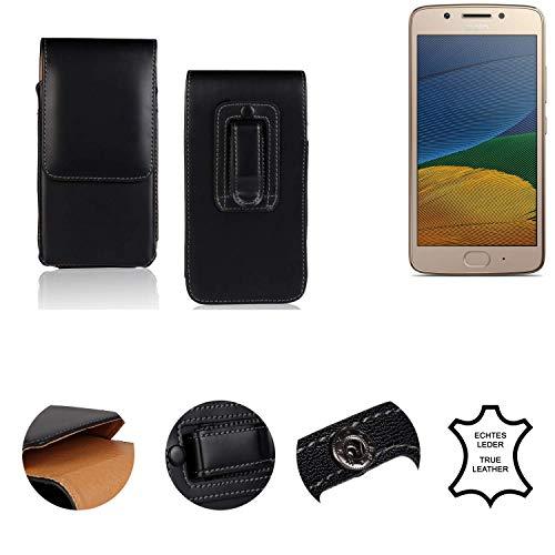 K-S-Trade® Holster Gürtel Tasche Für Lenovo Moto G5 Dual-SIM Handy Hülle Leder Schwarz, 1x