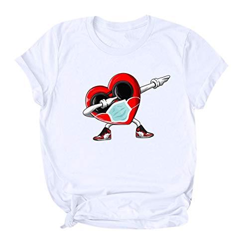 Blusa para Mujer, Feliz día de San Valentín para Mujer, Camiseta Informal con Cuello Redondo y Estampado de Dibujos Animados Lindo, Ropa para Mujer (3XL Blanco)