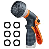 Garden Hose Nozzle, Water Hose Nozzle Spray, Heavy Duty Water Spray Gun High Pressure Washer Sprayer with 8 Patterns, Suitable for Watering Garden, Cleaning, Showering Pet and Washing Cars
