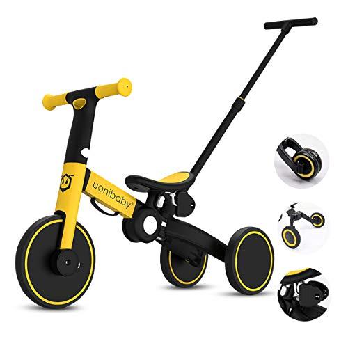 OLYSPM Balance Bike 5 in 1 per Bambini,Bicicletta Senza Pedali,Triciclo Senza Pedali,Pieghevole Maniglione,per 1.5-5 Anni Baby Boys Girls,Altezza del Sedile Regolabile (Giallo)