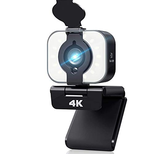 4K Webcam with Microphone and Ring Light, Yoroshi HD Streaming Web Camera for PC Mac Laptop, USB Webcam for Youtube, Skype, Zoom, Studying,Gaming and Conference with Privacy Cover