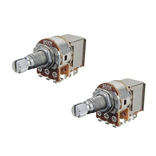IKN B500K Potenciómetros de empuje y tracción Ollas cónicas lineales Eje dividido de 18 mm de largo para piezas de interruptor de control de guitarra eléctrica, paquete de 2