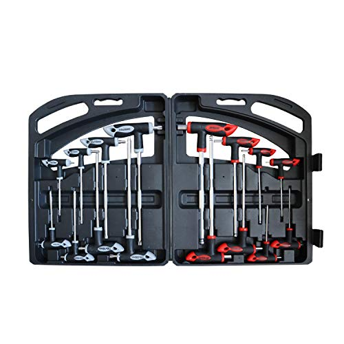 16 Piece T-Handle allen wrench set 2mm-10mm, Long Arm Ball End Hex Key Wrench Set, Tamper Proof Star Key Set T10-T50