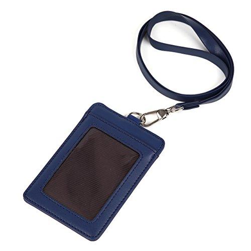 モノボックスジャパン 牛革 IDカードホルダー ネックストラップ ポケット2か所 安全装置 強化フィルム 軽量モデル パスケース 1name-mono3(ネイビー【縦】)