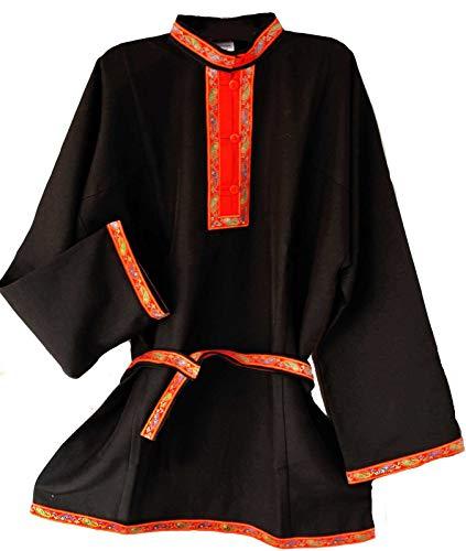 Russisches Hemd Kosakenhemd Gabardine schwarz Größe M