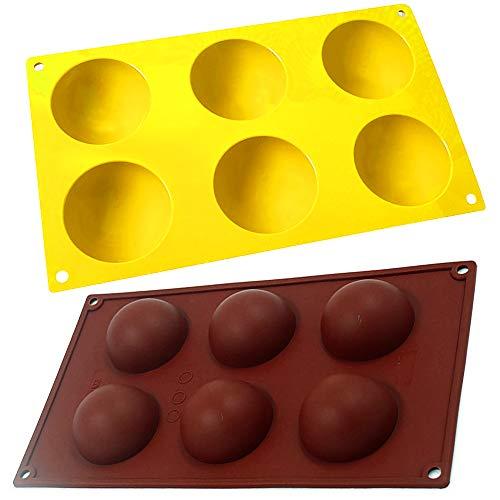 2 Pezzi Stampo Silicone Semisfera Cioccolato, ZoneYan Stampi Semisfera per Dolci, 2 Colori Semisfera Stampo, Teglia da Forno Semisfera, 6 Fori, per Gelatina, Budino, Sapone Fatto a Mano