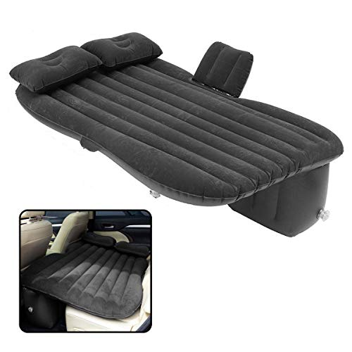 VaygWay Inflatable Car Air Mattress  Air Bed with Pump Kit  Back Seat Travel Air Mattress  Camping Vacation Blow up Bed - Sleeping Pad with 2 Pillows - Universal Car SUV Truck Fit