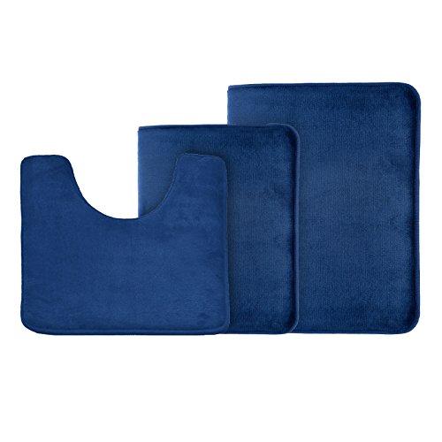 Clara Clark Memory Foam Bath Mat Ultra Soft Non Slip and Absorbent Bathroom Rug, Set of 3 - Small/Large/Contour, Royal Blue, 3 Count