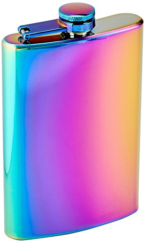 Top Shelf Flasks Rainbow Colored Unicorn Hip Flask, 8 oz
