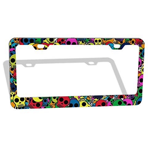 EXMENI Colorful Skull License Plate Frame - Cute Dead Skulls Design License Plate Holder Funny Gothic Pattern License Plate Frames Aluminum Car Tag Cover Holder for Us Standard 2 Hole and Screws