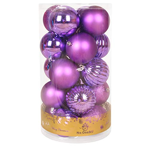 No One&U Christmas Balls Ornaments for Xmas Christmas Tree,Shatterproof Christmas Tree Decorations Hanging Ball Set for Holiday Wedding Party Decoration 3.14Inch x 29 Pack