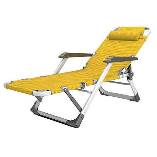 Sedie a sdraio Sedie Reclinabili con Balcone Giallo e Cuscini per la Testa, per Gazebo da Spiaggia All'aperto, Lettini Prendisole Zero Gravity Facili da Piegare