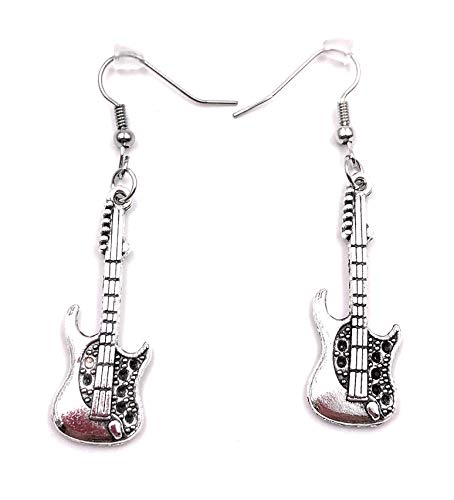 H-Customs Rock Gitarre E-Gitarre Ohrringe Ohrschmuck Anhänger Silber Metall