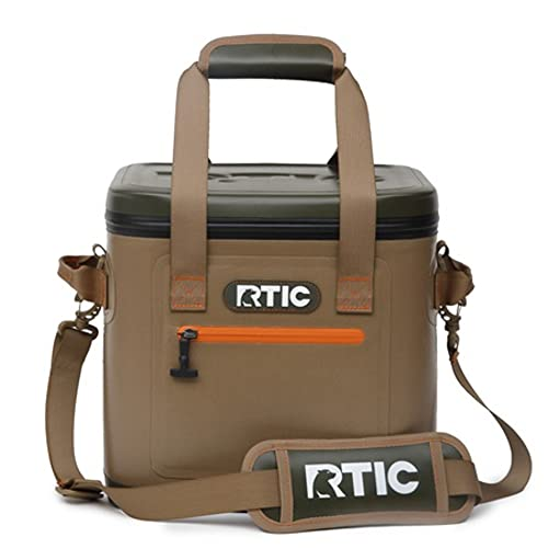 RTIC Soft Cooler 12, Insulated Bag, Leak Proof Zipper, Keeps Ice Cold for Days (Tan)