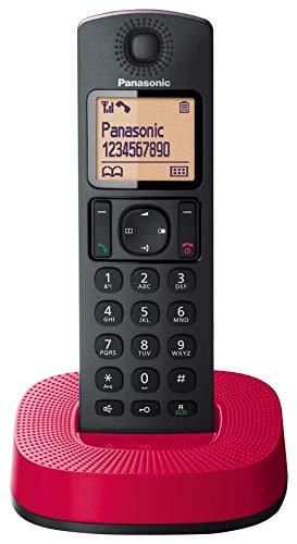 Panasonic KX-TGC310 - Teléfono Fijo Inalámbrico (LCD, Identificador De Llamadas, 16H Uso Continuo, Localizador, Agenda De 50 números, Bloqueo Llamada, Modo ECO, Reducción Ruido), Color Rojo