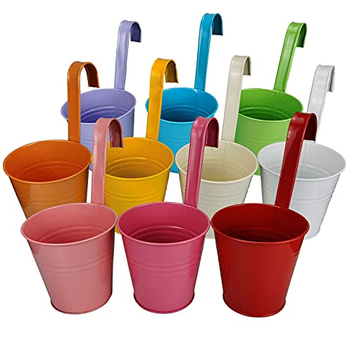 10Pack Colorful Iron Hanging Flower Pots with Detachable Hook, Balcony Planters Metal Bucket Flower Holders {Expires 10/8}[Coupon: 50ZAGK24](50% off) - $12.89
