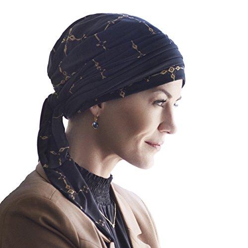 Christine Headwear Pañuelo Estampado con cenefas Doradas y Cintas largas para Atar en bambú Ultra Suave para Mujeres en quimioterapia