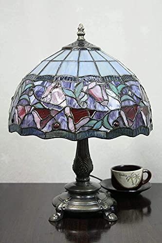 Vintage de 12 pulgadas Vintage Pastoral Gloria Manchada Tiffany Lámpara de mesa Lámpara de dormitorio