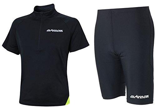 Airtracks Ensemble de course fonctionnel - Short de course Pro Air Court + T-shirt de course à manches courtes Air Tech - Noir - L