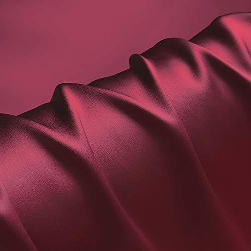 MUYUNXI 100% Tela De Raso Forro De Tela para Vestidos De Novias Fundas Artesanías Vestidos Blusas Ropa Interior 114 Cm De Ancho Vendido por Metro(Color:Vino Rojo)