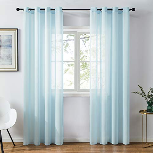Topfinel Chiffon Light Blue Sheer Curtains 84 Inches Long for Bedroom Living Room Soft Solid Grommet Window Curtains, 2 Panels