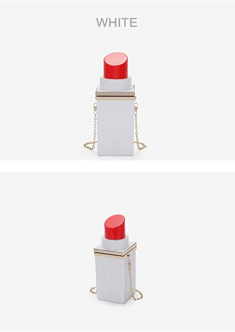Women Acrylic Black Lipstick Shape Evening Bags Purses Clutch Vintage Banquet Handbag (White)