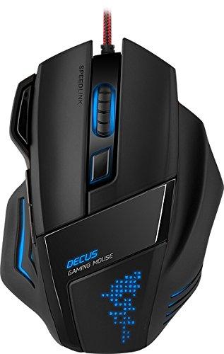 Speedlink Programmierbare Gamer Maus für PC Decus Gaming Mouse USB (Laser-Sensor, bis zu 5000 DPI dpi-Schalter und Rapid-Fire-Taste - Volle Individualisierbarkeit) Ultimative Ergonomie, Schwarz