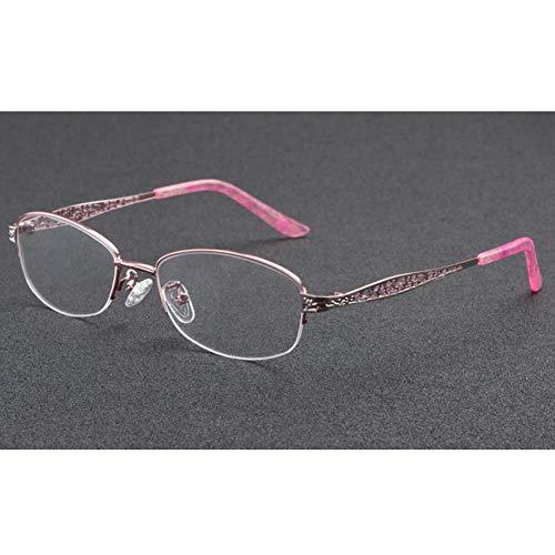 YAO YU Vidrios de Lectura Multifocal Progresivo Fotocrómico, Gafas Vintage de Medio Multraligero Ultraligero Oval Clásico/Rosado/2