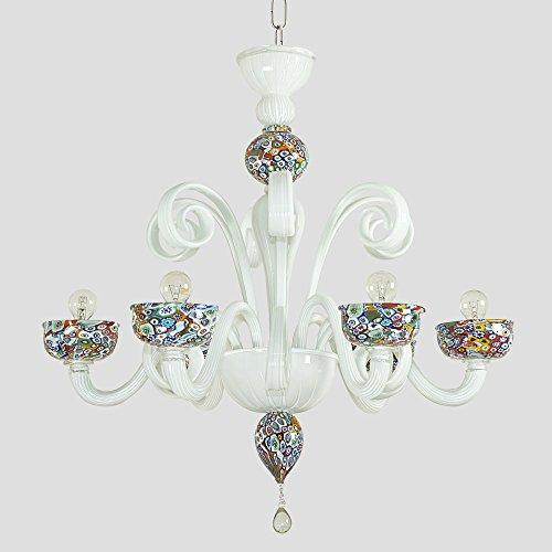 Murrine lustre en verre de Murano 6 lumiéres