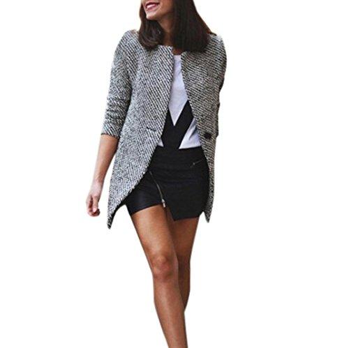 TWIFER 2018 Neu Damen Slim Warm Wolle Blazer Revers Lange Mantel Trench Parka Jacke (XL, Grau)