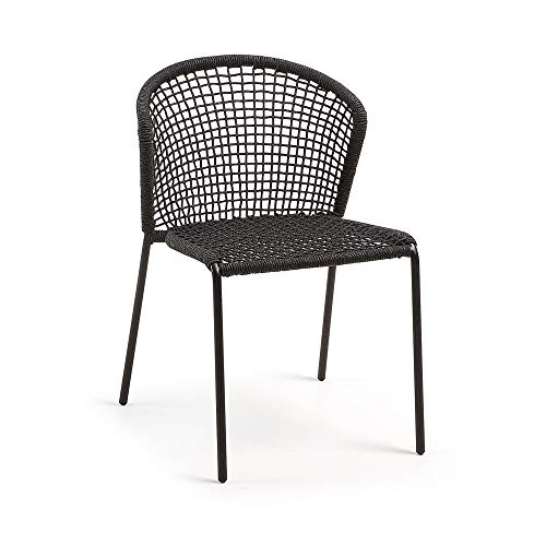 Kave Home - Silla de Comedor Mathew Negra de Cuerda de Poliester y Patas de Acero en Negro para Interior y Exterior