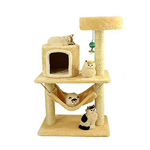 XF Cat Tree and Tower, Multi-Layer Cat Game House Climbing Activity Center, Cat Jumping and Cat Apartment, Hamaca y Toy Ball, Cat Toy Supplies (Color : F)