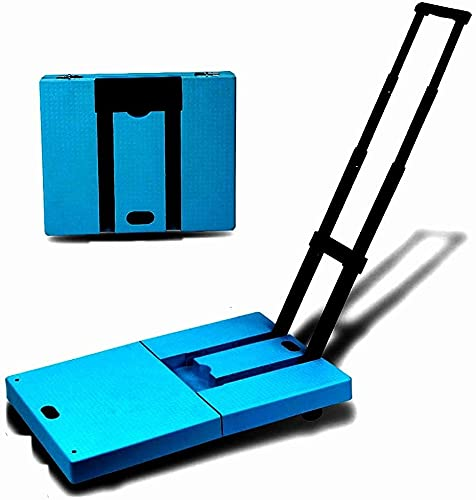 WSVULLD Carro de Mano Plegable, Carga de 50 kg / 110 lbs de 50 kg / 110 lbs Compacto Compacto y liviano para Equipaje, Personal, Viajes, Movimiento y Uso de Oficina - Pliegue portátil, Azul