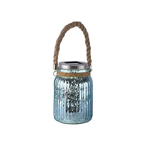 LED Garten-Leuchte, 11x11 cm, Outdoor-Lampe, Solar, Windlicht, Gartendeko, Effektleuchte, IP 44, blau