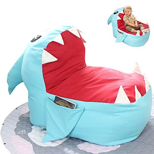 LLFFDC Kindersitz Sofa Kinder Sitzsack Cartoon Hai Form Gehobene Baby Stuhl Kleinkind Nest Puff Sitz Sitz Nur Stuhl Abdeckung Keine Füllung,Blau