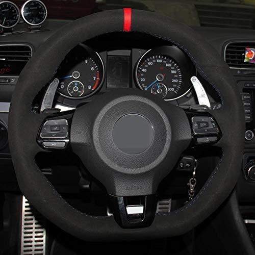 MDHANBK Volante del Coche de la Cubierta Cosida a Mano DIY Negro Ante, para Volkswagen Golf 6 GTI MK6 Polo GTI Scirocco R Passat CC R-Line Accesorios del Coche