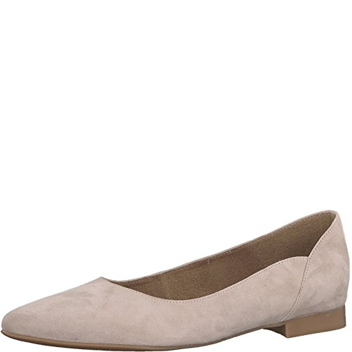 Tamaris Damen Ballerinas 22156-24, Frauen Klassische Ballerinas, Frauen weibliche Lady Ladies feminin Women's Women Woman,Rose Suede,39 EU / 5.5 UK