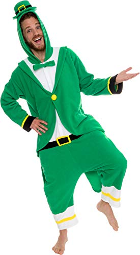 Silver Lilly Leprechaun Unisex Adult Pajamas - Plush One Piece Cosplay Holiday Costume (Green, XL)
