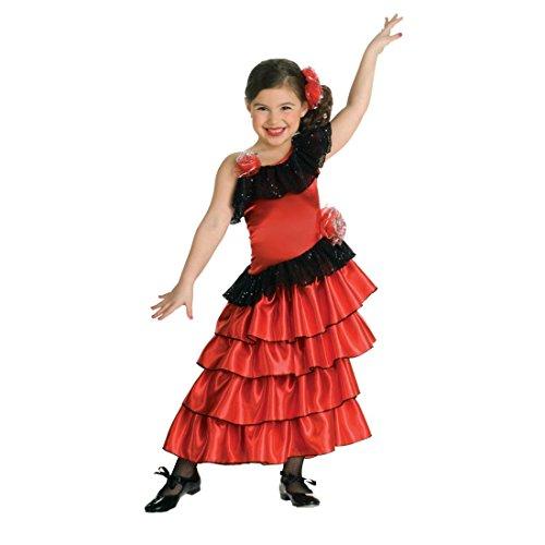 Amakando Spanierin Kostüm Kinder Rotes Flamencokleid S 3-4 Jahre 98-116 cm Flamenco Kinderkostüm Flamenco Kleid Mädchen Kostüme Fasching Rumba Tänzerin Faschingskostüm Spanische Prinzessin