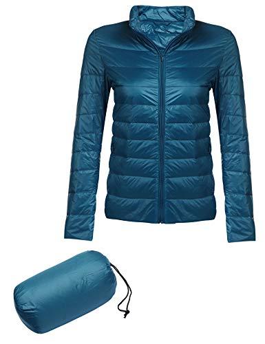 Beyove Women's Ultra-Lightweight Stand Collar Down Cotton Jacket Coat Blue S