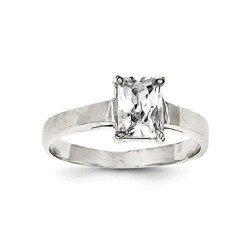 Anillo de plata de ley 925 solitario pulido solitario esmeralda CZ zirconia cúbica simulada diamante tamaño L 1/2 joyería regalos para mujeres